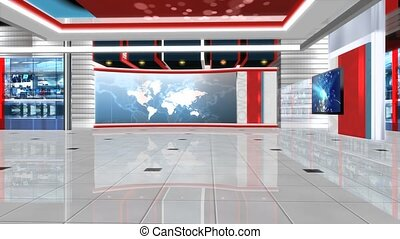 Virtual News Studio Set Background