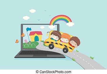 virtual, niños, computador portatil, escuela, ilustración