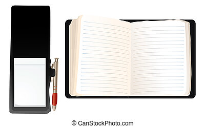 virtual notebooks - illustration of two blank notebooks, pen...