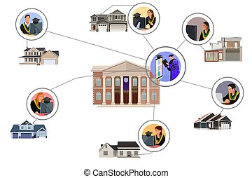 Virtual Online Graduation Ceremony Vector Illustration