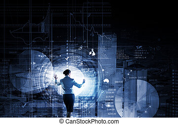 Virtual panel - Back view of businesswoman working with...