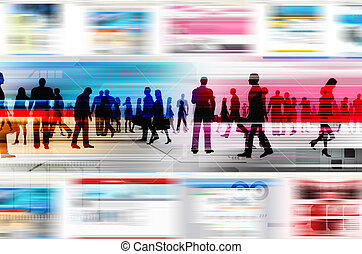Virtual people doing business inside the virtual world of internet. Illustrated with flashing website, and hitech elements of design.