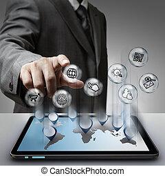 virtual, pixel, sinal, ícones internet, conceito