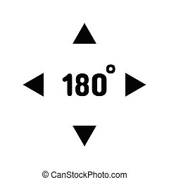 Virtual Reality 180 Degrees VR Camera Black Icon Isolated Vector illustration