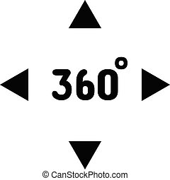 Virtual Reality 360 Degrees VR Camera Black Icon Isolated Vector illustration