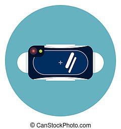 Virtual Reality 3d Glasses Icon On Blue Round Background