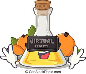 Virtual reality apricot oil in the cartoon shape