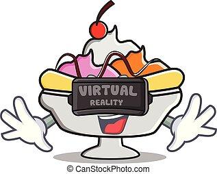 Virtual reality banana split mascot cartoon vector...