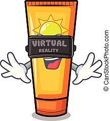 Virtual reality cartoon sun cream in bag makeup vector...