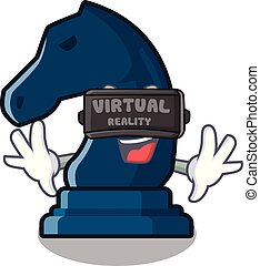 Virtual reality chess knight isolated with the cartoon