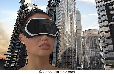 Virtual Reality Concept. - 3D Illustration of a Woman...