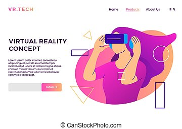 virtual reality concept VR girl augmented glasses landing page vector flat illustration background
