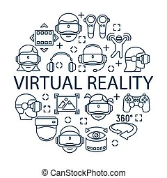 Virtual reality concept with grey linear icons, virtual reality helmet icon, vector Illustration