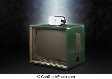 Virtual reality concept with vintage TV