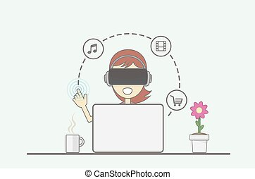 Virtual Reality Concept. Young girl sitting behind desk in front of laptop uses virtual reality application.
