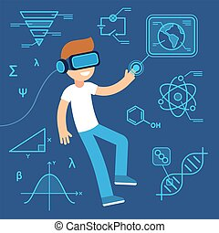 Virtual reality use in learning, future of education. Boy with VR headset surrounded by information, science equations and data. Flat cartoon vector illustration.