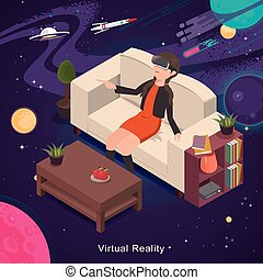 Virtual reality experience - 3d isometric flat design -...
