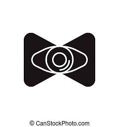 Virtual reality eye icon, silhouette style - Virtual reality...