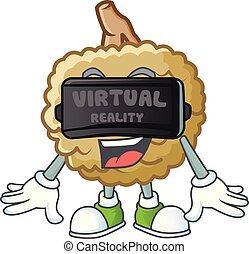 Virtual reality fresh marolo fruit character mascot in cartoon