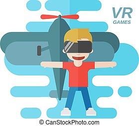 Virtual Reality Games Flat Vector Illustration, Boy wearing...