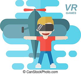 Virtual Reality Games Flat Vector Illustration, Boy wearing...