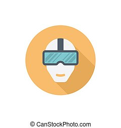 Virtual reality glass on head isolated vector flat icon with long shadow front view