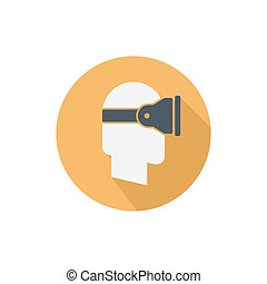 Virtual reality glass on head isolated vector flat icon with long shadow side view