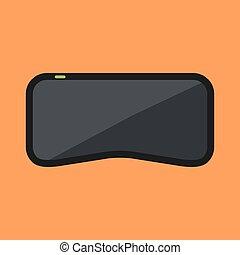 Virtual reality glasses. Black headset on orange background....
