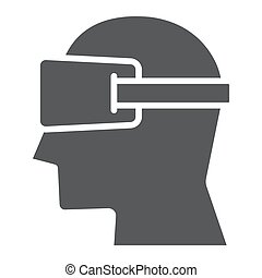 Virtual reality glasses glyph icon, electronic and device,...
