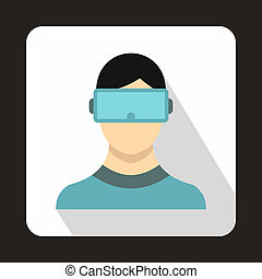 Virtual reality glasses icon, flat style