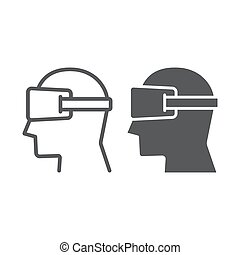 Virtual reality glasses line and glyph icon, electronic and...