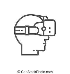 Virtual reality glasses line icon.