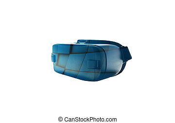 Virtual reality glasses or VR glasses with visual effects on a white background. The technology of the present and the future