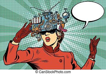 Virtual reality glasses retro girl science fiction, pop art vector. Futuristic mechanism of virtual reality