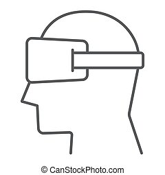 Virtual reality glasses thin line icon, electronic and...