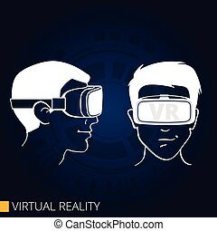Vector drawing of 3d glasses virtual reality