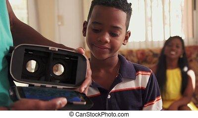 Virtual Reality Goggles VR Headset For Hispanic Boy Black Child