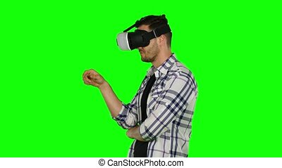 Virtual reality. Hands movement. VR. Green screen. Close up