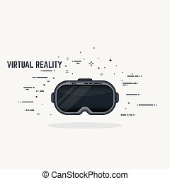 Virtual reality headset display. Thick lines and flat style ...