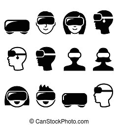 Virtual reality headset for 3D gami - Vector icons set of...