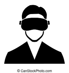 Virtual Reality Headset Icon. Vector - Virtual Reality...