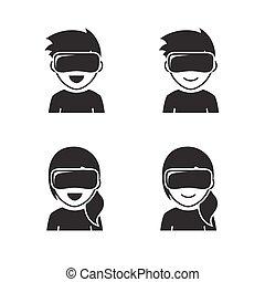 Virtual reality headset icons - Virtual reality headset...