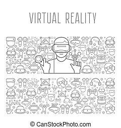 Virtual reality headset man concept