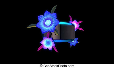 Virtual reality headset with blooming flowers