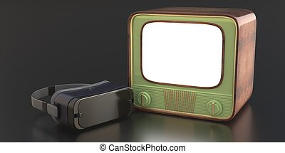 Virtual reality helmet and retro tv on black background. 3d illustration