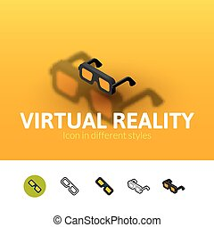 Virtual reality icon in different style - Virtual reality...