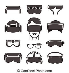Virtual reality icons. Vr glasses, game simulation helmet...