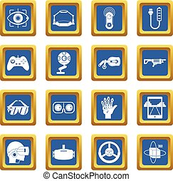 Virtual reality icons set blue
