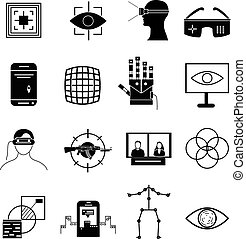 virtual reality icons set in black.