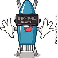 Virtual reality iron board mascot cartoon vector illustration
